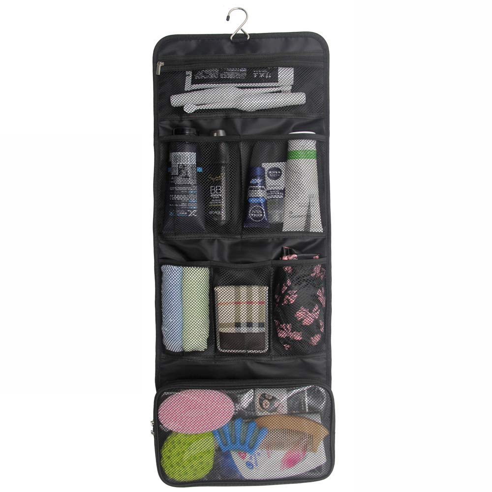 81dca59fef Amazon.com   Travel Hanging Toiletry Bag Travel Kit Organizer Cosmetic  Makeup Waterproof Wash Bag for Women Girls Travel Case for Bathroom Shower  (Black)   ...