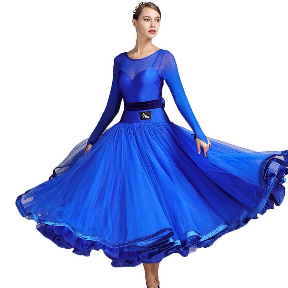 【即日発送】 女性 M B07QH5QRCG/女の子のための長袖の標準のダンスドレスメッシュステッチタンゴパフォーマンスダンスウェアシンプルなワルツモダン社交ダンス大会用ドレス B07QH5QRCG M|ブルー ブルー M|ブルー M, 越前町:fb0fd32e --- a0267596.xsph.ru