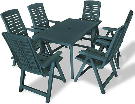 honglianghongshang Muebles de jardín Conjuntos de jardínJuego de Comedor de jardín 7 Piezas plástico Verde: Amazon.es: Hogar
