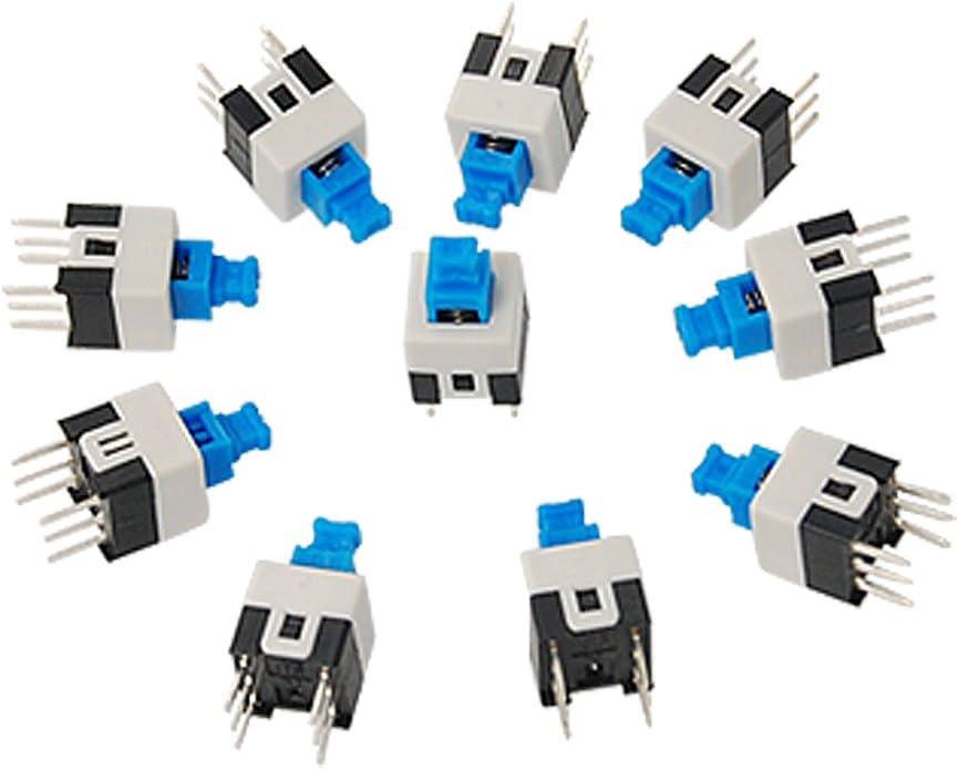 Sourcingmap a11031100ux0049-10 piezas de 7 x 7 mm panel de montaje en pcb interruptor tacto pulsador táctil auto bloqueo de 6 pines