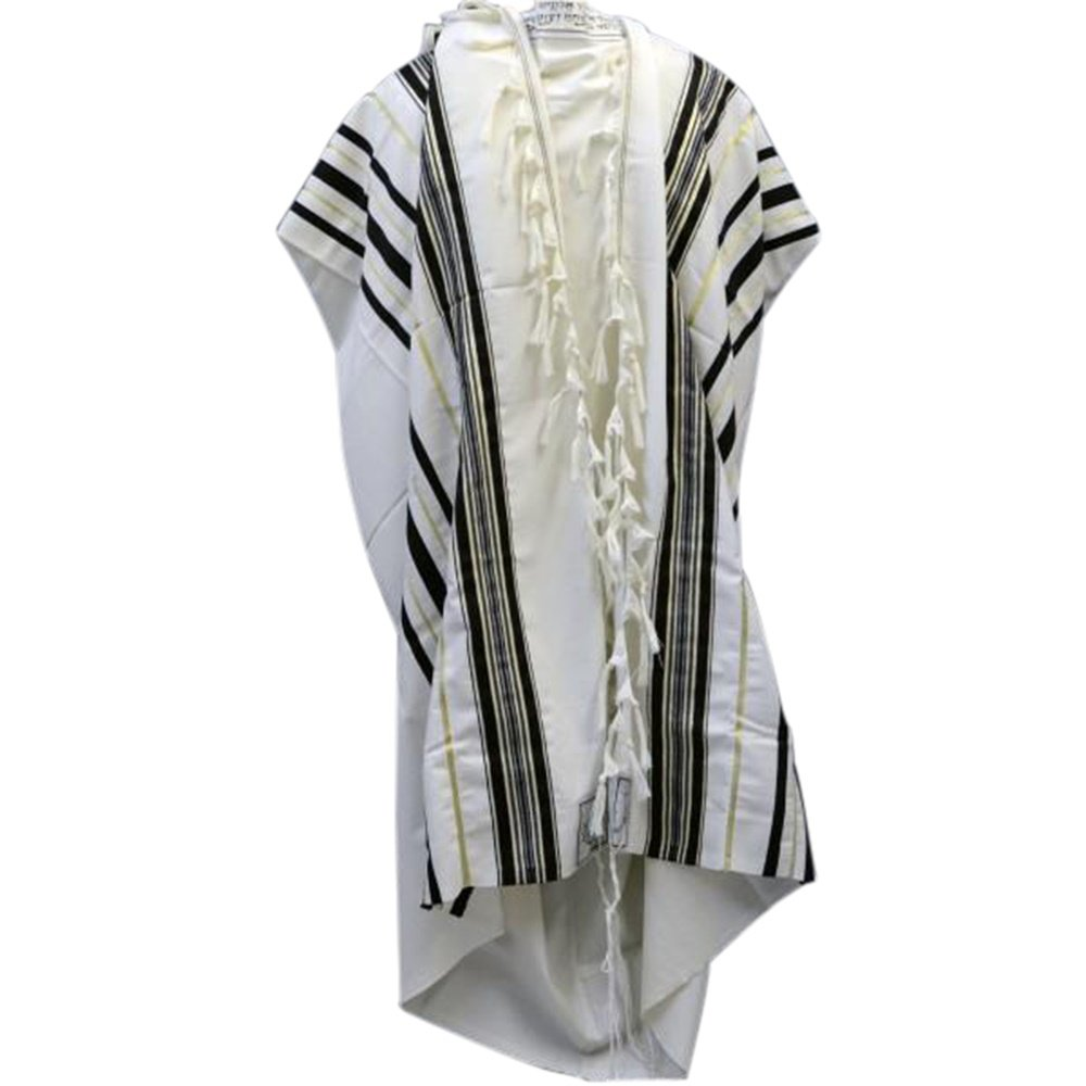 Black & Gold 100% Wool Kosher Tallit Prayer Shawl Made by Mishcan Hathelet (size 60 - (55 inches x 73 inches))