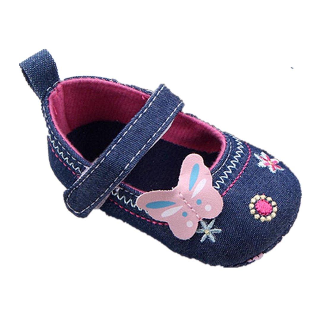 Amlaiworld pour 0-18 Mois Bébé, Semelle Douce Papillon Chaussures Premiers Pas (11/0-6 Mois, Bleu)
