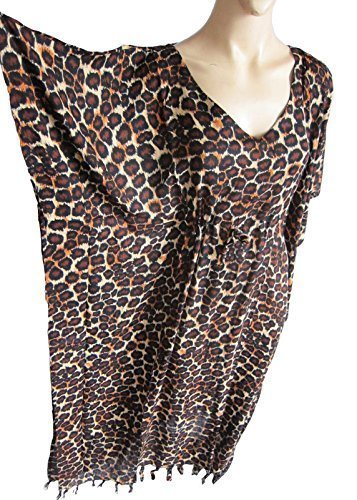 2e98910fbb Plus Size Long Kaftan Caftan Mumu Beach Cover Up animal print:  Amazon.co.uk: Shoes & Bags