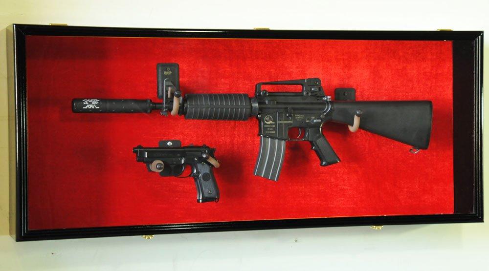 Amazon.com: Guns: Rifle Handgun Display Case Wall Rack Cabinet W/ UV  Protection  Lockable, Walnut: Kitchen U0026 Dining