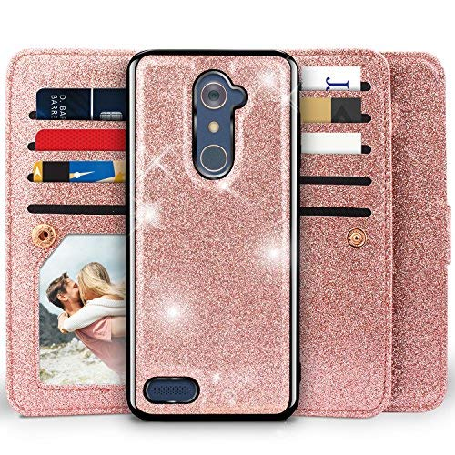 ZTE Imperial Max Z963U Case,ZTE Blade Max 3 Z986 / Zmax Pro Z981 / Max XL N9560 / Carry Case, Miss Arts [Detachable] Magnetic Glitter Wallet Case W/Car Mount, 9 Slots Cover for ZTE Z981 -Rose Gold