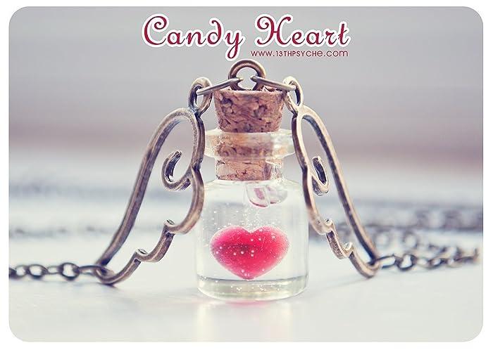 Corazón colgante de la botella, diminutas de vidrio collar de botella. botella de poción
