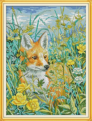DIY Cross Stitch Stamped Kits for Home Decor 15''x 19'' - Colorfol Animal Cross-Stitching Needlecrafts Pattern, The Fox in The Bush ()