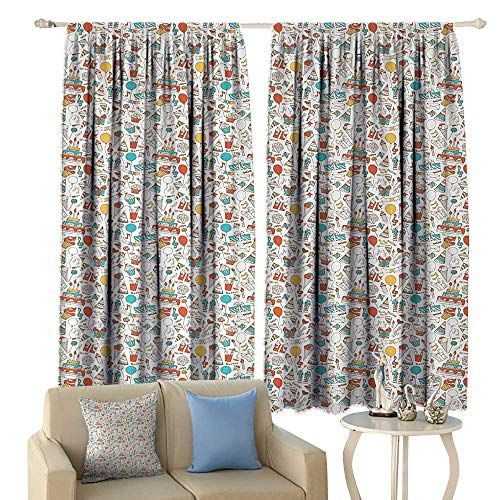 Birthday, Window Curtain Fabric, Boxes Garlands Music Notes Party Blowouts Cakes Candies Pie Party Hats, Drapes for Living Room,(W72 x L72 Inch, Aqua Orange ()