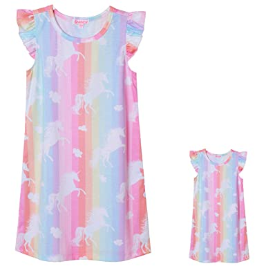 3c6924f95f Unicorn Nightgowns Toddler Girls   Dolls Matching Flutter Sleeve Night  Dresses
