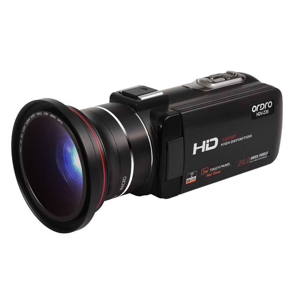 Full HD Digital Video Camera with External 72mm Wide Angle Lens (Includes 8GB SD Card as a Free Bonus!) - Digital Camcorder with WIFI Function Support External Microphone Enhanced