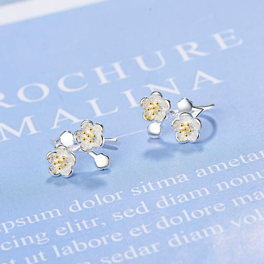 925 Sterling Silver Fresh Cherry Blossom Charm Dangle Drop Hanging Earrings For Women Girls Jewelry