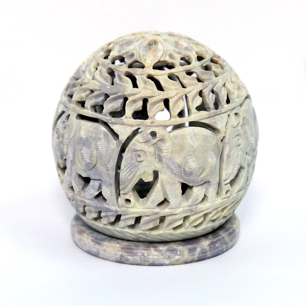 Soapstone Sculpture Votive / Candle / Tealight Holder with Elephant Figurines Tendrils Carved on the Side and a Rosette on the Top [Size - 4 x 3.5''] - Decorative Lamps, Lanterns - Handmade Home Decor Stoneware