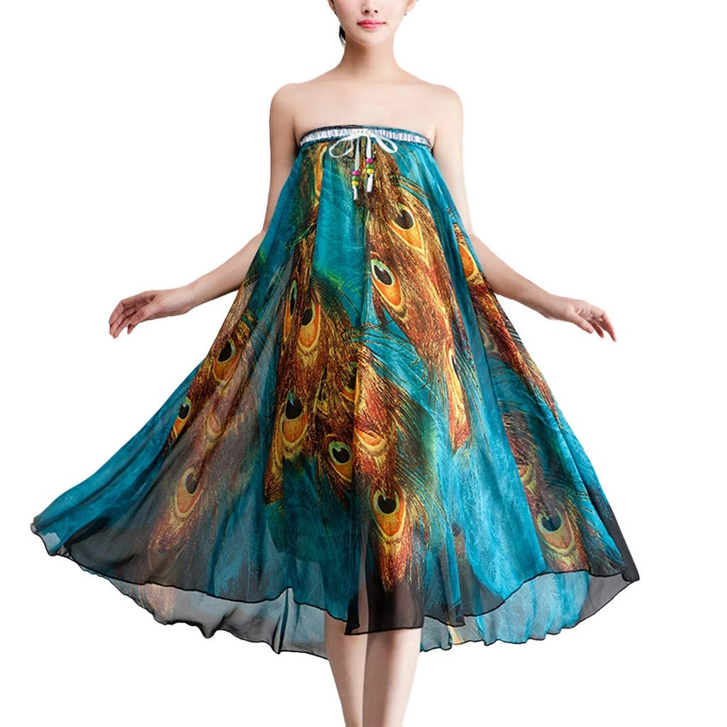 NRUTUP Women's Boho Dress Summer Beach Party Cocktail Feather Print Round Neck Skirt Beach Skirt
