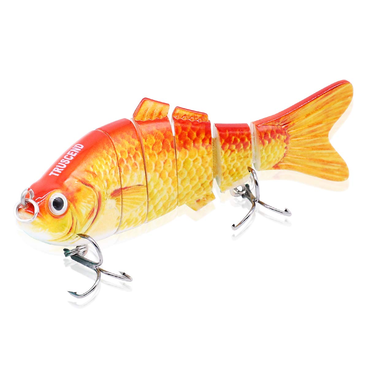 TRUSCEND Fishing Lures Swimbait Bass, 10cm 3.93'' Fishing Lures Crankbait Jointed Trout Swimbait Mustad Hooks (Gold)