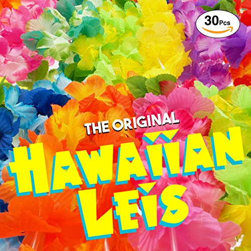The Original Premium Hawaiian Leis and Luau Party Supplies: Superior Quality Soft Feel Juicy Colorful Flower Lei - Free Party Guide For Luau Leis - Set of 30 Luau Party - Full Moana Free