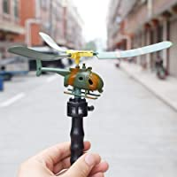 Sanwooden Interesting Toy Pull Helicopter Toy Funny Outdoors Pull String Handle Helicopter Toy Stress Reliever Kids Gifts Toys for All Ages