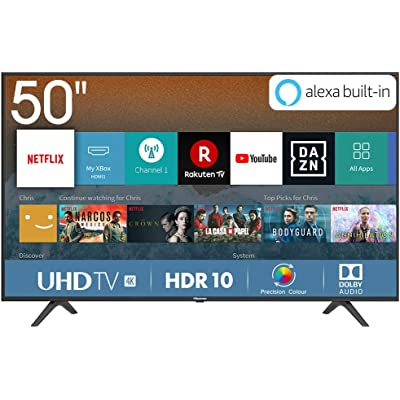 Hisense H50BE7000 - Smart TV 50' 4K Ultra HD con Alexa Integrada, 3 HDMI, 2 USB, salida óptica y de auriculares, Wifi, HDR, Dolby DTS, Procesador Quad Core, Smart TV VIDAA U 3.0 con IA