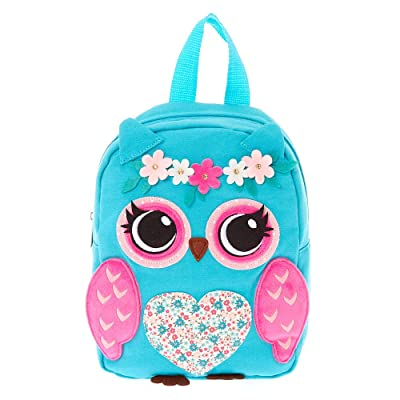 New Claire's Back to School Girl's Backpacks Shoulder Strap Ruck Sacks For All Occasions (Blue Owl) | Kids' Backpacks