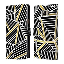 Official Project M Black Gold Abstract Lines Two Tone Leather Book Wallet Case Cover For Samsung Galaxy Note5 / Note 5