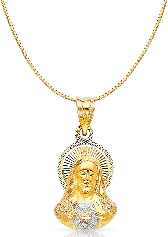 14K Yellow Gold Angel Religious Charm Pendant with 0.6mm Box Chain Necklace