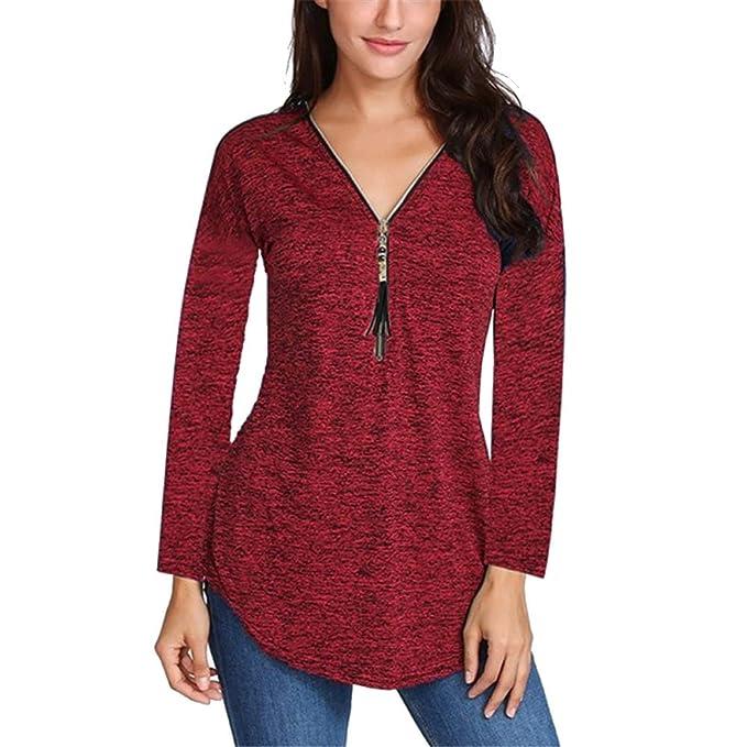 877361882f12b WUGO Women s Sexy Deep V Neck Zip UP Long Sleeve Tops Loose Casual T Shirt  Tunic