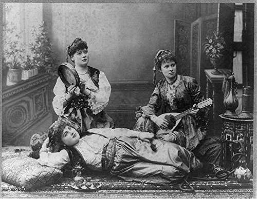 Photo: 3 Arab-Turkish dancing girls with lute,tambourine,c1890,Syria Costumes,Asia - Syria Costume For Kids