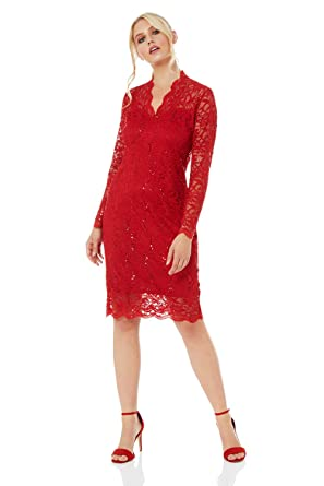 a273916a Roman Originals Women Lace and Sequin Long Sleeve Dress - Ladies Delicate  Scallop Edge Embellished Formal Evening Party Occasion Midi Dresses - Red -  Size ...