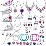 WATINC 54pcs Jewelry Toy,Girl's Jewelry Dress Up Play Set,Included Crowns, Necklaces,Wands, Rings,Earrings and Bracelets