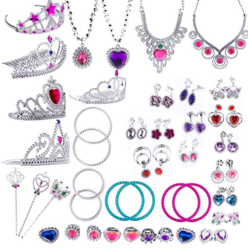 WATINC 54pcs Jewelry Toy,Girl's Jewelry Dress Up Play Set,Included Crowns, Necklaces,Wands, Rings,Earrings and (Halloween Dress Up 5 Game)