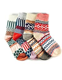 3-5 Pairs Womens Multicolor Fashion Warm Wool Cotton Thick Winter Crew Socks