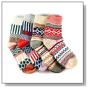 JOYCA & Co. 3-5 Pairs Womens Multicolor Fashion Warm Wool Cotton Thick Winter Crew Socks (4 Pairs Mix 1)