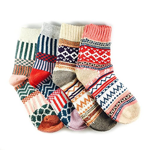 JOYCA & Co. 3-5 Pairs Womens Multicolor Fashion Warm Wool Cotton Thick Winter Crew Socks (4 Pairs Mix -