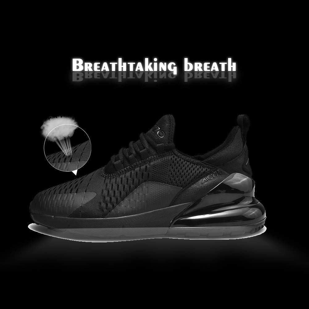 N/L Coussin d'air Chaussures de Sport Chaussures de Basket-Ball Chaussures de Course pour Hommes et Femmes Absorption des Chocs Chaussures de Formation en Dentelle Respirante Noir