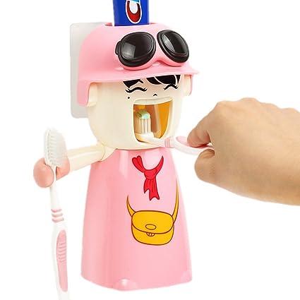 ecoco Dispensador de pasta de dientes automático con cepillo de dientes titular Set y vaso para