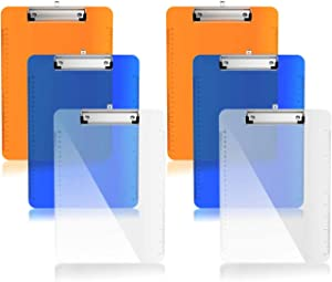 """Plastic Clipboards, 6 Pack Hangable Letter Size with Side Ruler Flat Clip Low Profile Colorful Clipboards Office Supplies Durable Strong,A4 Stand Size 9""""x12.5"""" Assorted (Clear,BLue,Orange)Multi Pack"""