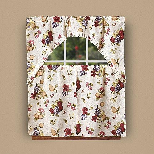 Violet Linen European Paradise Fruits Vintage Print 3 Piece Kitchen Curtain Set, ()