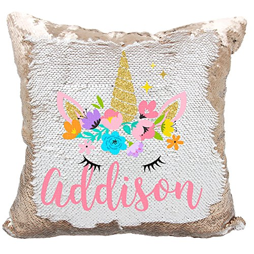 Personalized Mermaid Reversible Sequin Pillow, Custom Unicorn Sequin Pillow For Girls (White/Rose Gold) - Kids Personalized Name Pillow