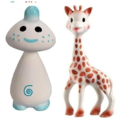 Vullie Sophie Giraffe and Chan Blue - Natural Rubber and Food Paint Details Set of 2 : Baby Teether Toys : Baby