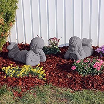 """EMSCO Group Day Dreaming Boy and Girl Statues – Natural Granite Appearance – Made of Resin – Lightweight – 11"""" Height"""