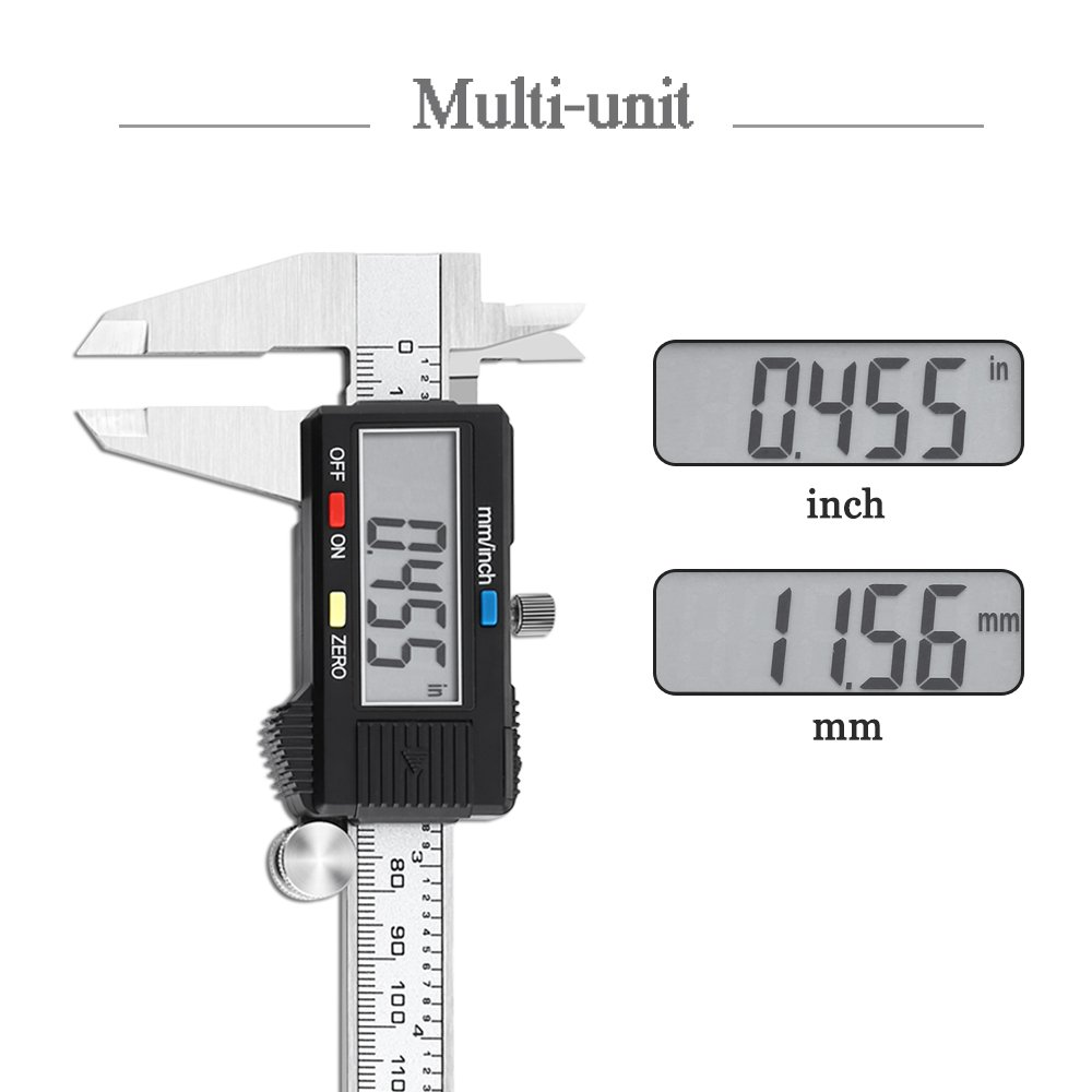 Electronic Digital Caliper Vernier Scale Stainless Steel Body Inch/Millimeter Conversion 6inch/150mm LCD Screen Auto Off Measuring Tool with High Precision by Holite (Image #3)