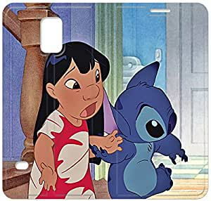 Disney Lilo & Stitch Character Lilo Pelekai-9 iPhone Samsung Galaxy S5 Leather Flip Case Protective Cover New Colorful