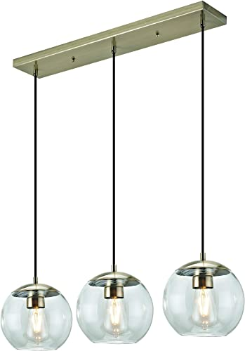 Addington Park 31782 Roques Collection 3-Light Glass Globe Pendant, Antique Brass