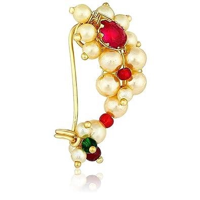Buy Hari Om Fashion Letest Maharashtrian Nath Jewellery Pearl Gold