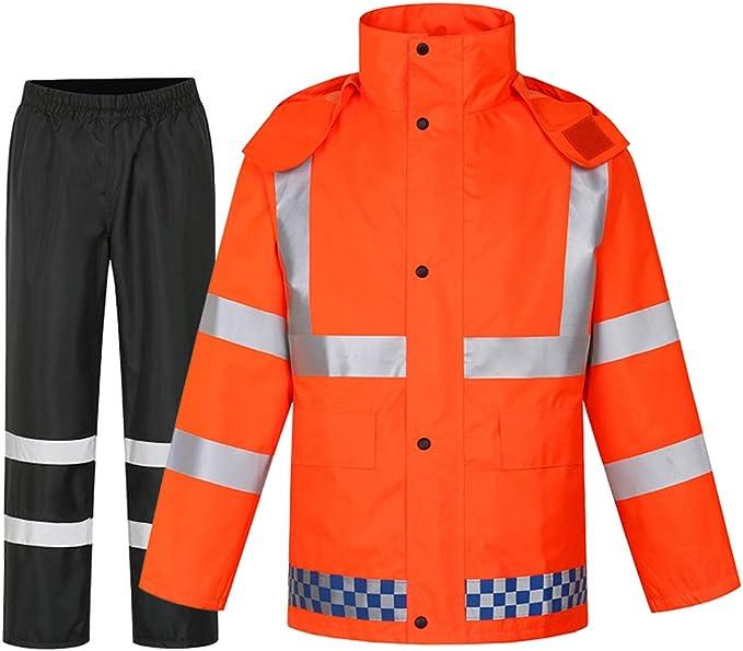 XWZJY Chaqueta Ligera para Exteriores Visibilidad Impermeable de Trabajo Batas de protección para Hombres con Pantalones con Capucha Chaqueta Impermeable Premium: Amazon.es: Hogar