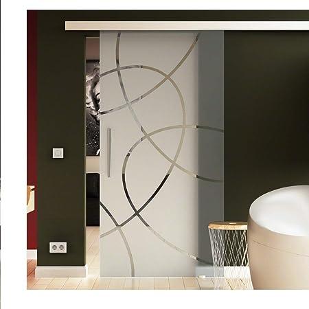 Correderas de cristal de puerta de 102,5 x 205 cm en vidrio templado-vidrio esmerilado con Forma-diseño (E) Levidor EasySlide-sistema neumático. Ejecución de rieles y barras de asas, puerta corredera de cristal de