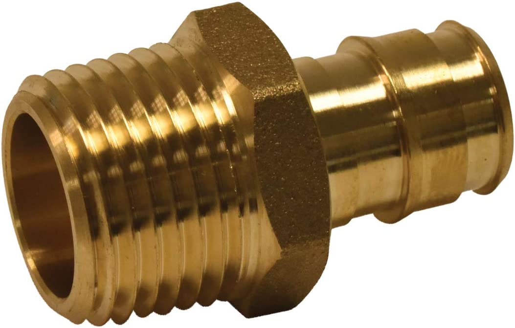 "(10-pk) 1/2"" Male Adapter- Brass- Pex-A F1960 Expansion Type- For Uponor/Wirsbo and Other Type A Pex- (Requires Expansion Tool and Rings-NOT INCLUDED)"