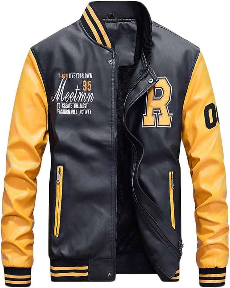QitunC Hombres Cuero De La PU Chaqueta De Béisbol Impresión Fleece Forrado Cazadora Abrigo