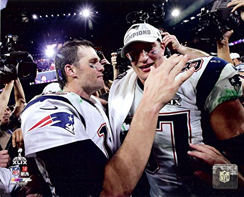 New England Patriots Tom Brady And Rob Gronkowski Moments After Super Bowl XLIX 49. 8x10 Photo. Picture.