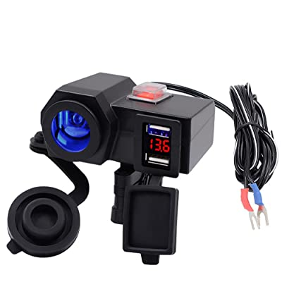 iMESTOU Waterproof Motorcycle 12V Cigarette Lighter Socket 5V 2.1A Dual USB Phone Charger Power Adapter with Voltmeter Mount on Handlebar for Phones/Tablets/GPS