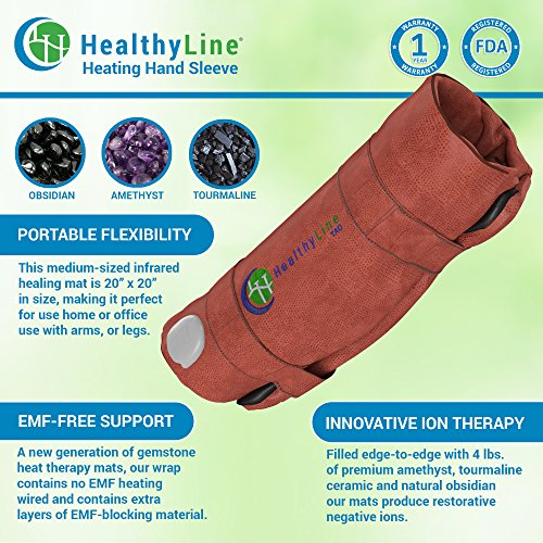 HealthyLine Heating Hand Sleeve | Amethyst, Tourmaline & Obsidian Heat Therapy 20'' x 20'' | Physical Therapy​ ​Heated Negative Ions |​​ US FDA Registered by HealthyLine